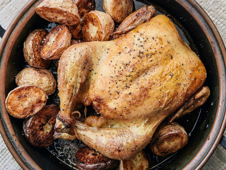 pollo al horno con papas y cebollas FADEL